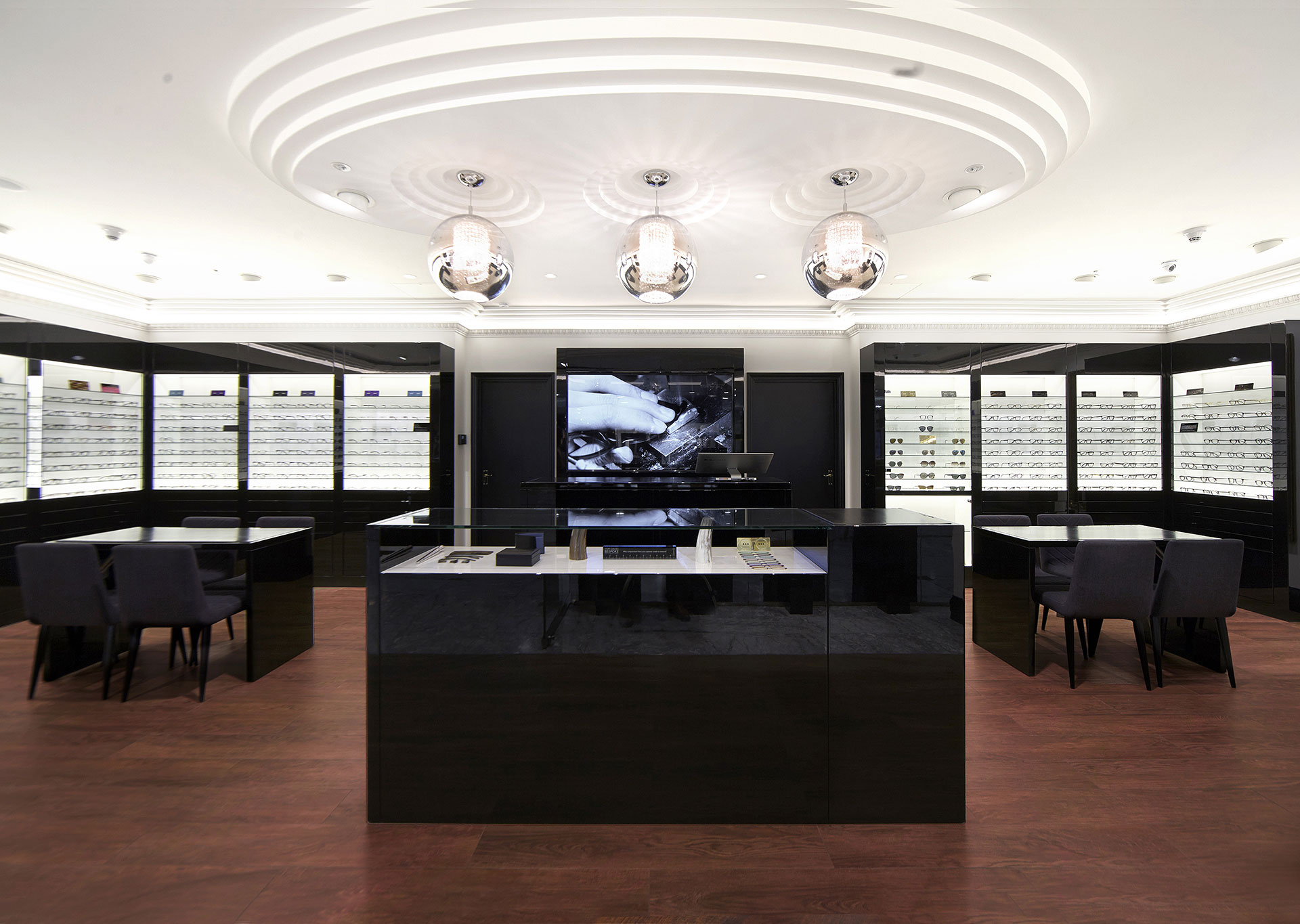 Shop floor of Tom Davies Bespoke Opticians in Canary Wharf